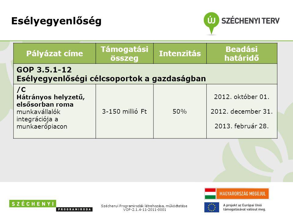 Esélyegyenlőség Pályázat címe Támogatási összeg Intenzitás Beadási határidő GOP 3.5.1-12 Esélyegyenlőségi célcsoportok a gazdaságban /C Hátrányos helyzetű, elsősorban roma munkavállalók integrációja a munkaerőpiacon 3-150 millió Ft50% 2012.