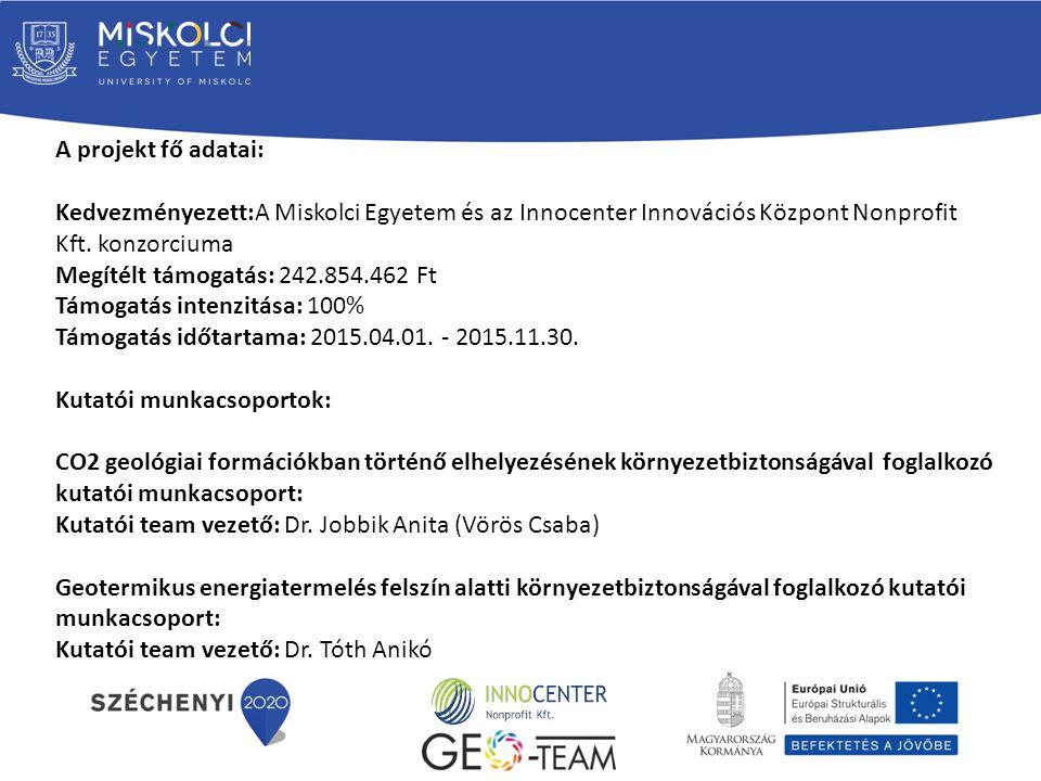 A projekt fő adatai: Kedvezményezett:A Miskolci Egyetem és az Innocenter Innovációs Központ Nonprofit Kft.