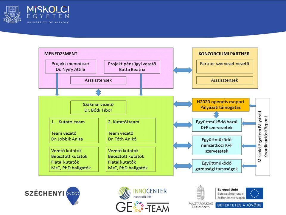 Kutatói Team- ek felállítása, nagyvonalú feladat meghatározás Egyénekre szabott feladat lebontás Külső intézményi adatgyűjtés Külső projektekhez kapcsolódó adatgyűjtés Kutatási tématerületek feltérképezése Kutatási irányok validálása Mérések, elvégzése, adatbázisok összeállítása Oktatások biztosítása Kutatási irányok alapján projektek generálása H2020 munkacsoport létrehozása, működtetése Partnerkeresés Jelentések beszámolók összeállítása Pilot kutatási projektek, mérések