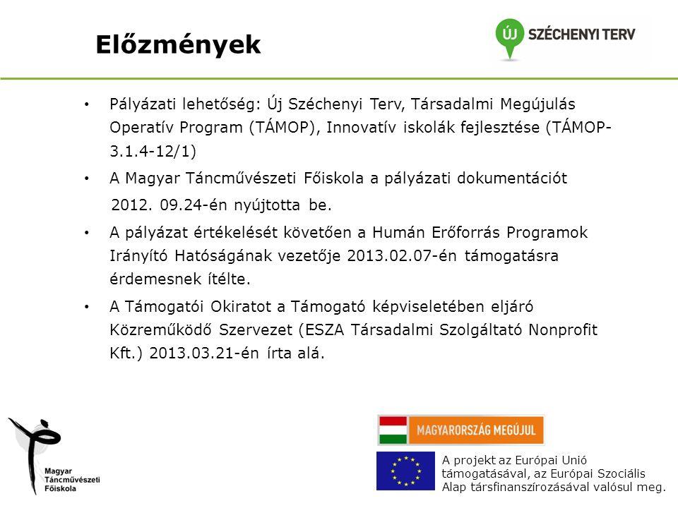 Előzmények Pályázati lehetőség: Új Széchenyi Terv, Társadalmi Megújulás Operatív Program (TÁMOP), Innovatív iskolák fejlesztése (TÁMOP- 3.1.4-12/1) A Magyar Táncművészeti Főiskola a pályázati dokumentációt 2012.