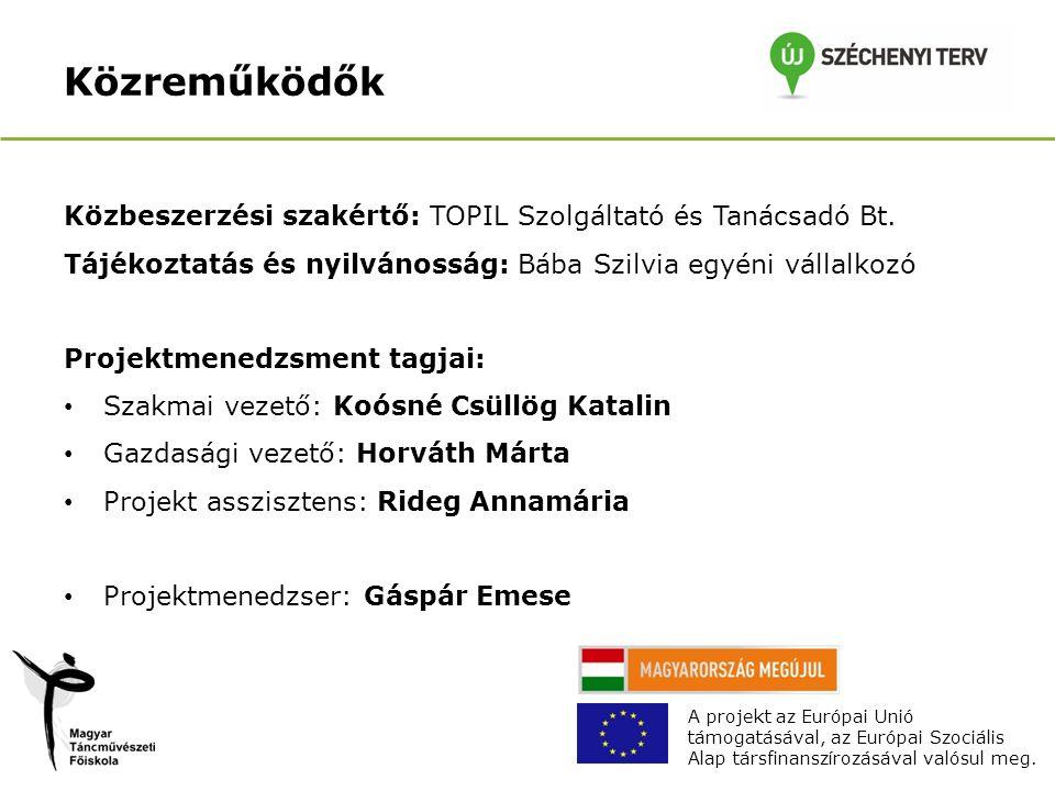 Közreműködők Közbeszerzési szakértő: TOPIL Szolgáltató és Tanácsadó Bt.