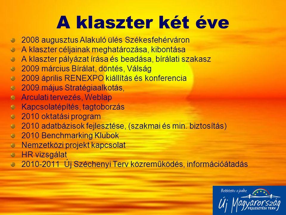 A klaszter két éve 2008 augusztus Alakuló ülés Székesfehérváron A klaszter céljainak meghatározása, kibontása A klaszter pályázat írása és beadása, bí
