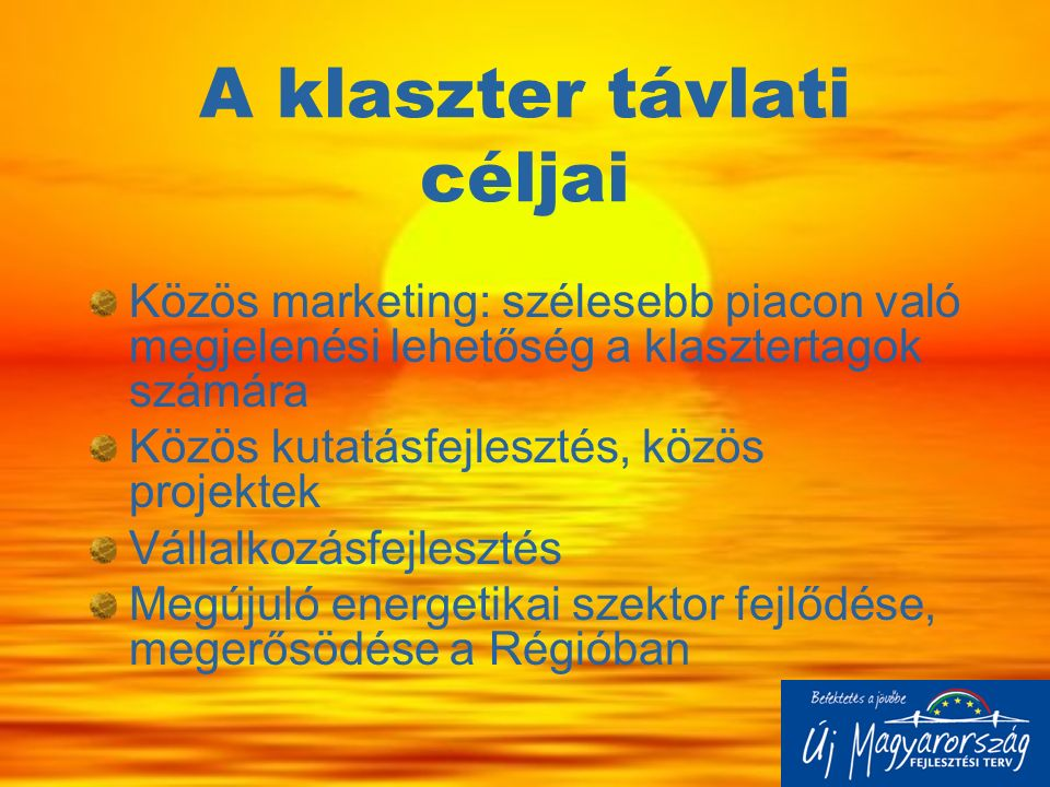 A klaszter távlati céljai Közös marketing: szélesebb piacon való megjelenési lehetőség a klasztertagok számára Közös kutatásfejlesztés, közös projekte