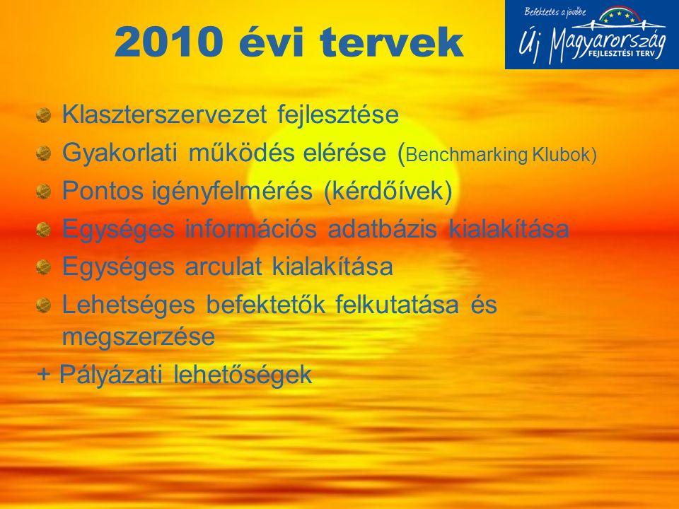 2010 évi tervek Klaszterszervezet fejlesztése Gyakorlati működés elérése ( Benchmarking Klubok) Pontos igényfelmérés (kérdőívek) Egységes információs