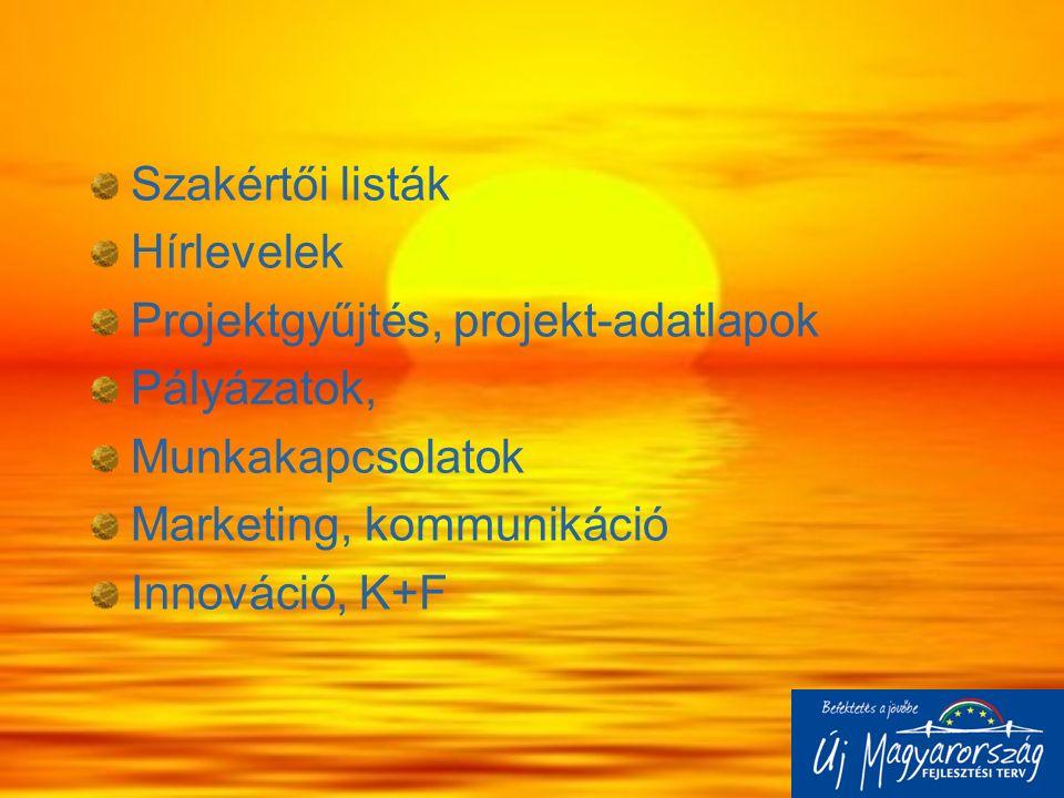 Szakértői listák Hírlevelek Projektgyűjtés, projekt-adatlapok Pályázatok, Munkakapcsolatok Marketing, kommunikáció Innováció, K+F