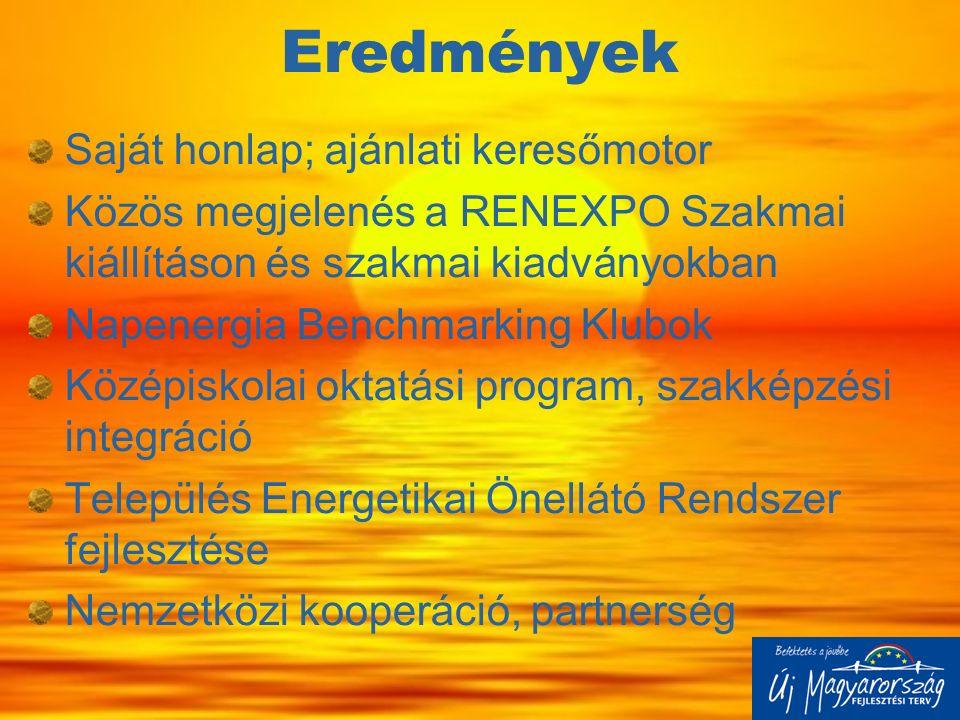 Eredmények Saját honlap; ajánlati keresőmotor Közös megjelenés a RENEXPO Szakmai kiállításon és szakmai kiadványokban Napenergia Benchmarking Klubok K