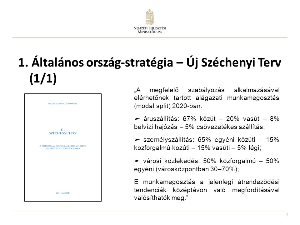 """5 1. Általános ország-stratégia – Új Széchenyi Terv (1/1) """"A megfelelő szabályozás alkalmazásával elérhetőnek tartott alágazati munkamegosztás (modal"""