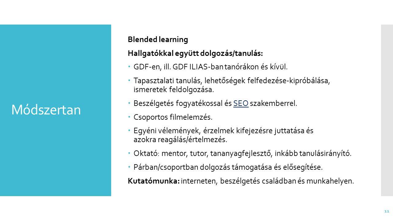 Módszertan Blended learning Hallgatókkal együtt dolgozás/tanulás:  GDF-en, ill. GDF ILIAS-ban tanórákon és kívül.  Tapasztalati tanulás, lehetőségek