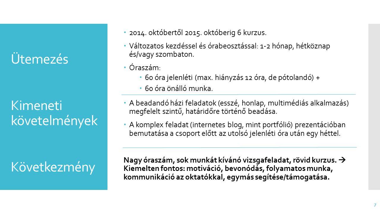 Résztvevők 8  Változatosság  Életkor (20  50 év)  Előképzettség (FSZ..PhD, HTML/CSS, írásbeli kifejezőkészség)  Intézmény (többség GDF-es)  Dolgozó és/vagy tanuló  Lakhely (Budapest/vonzáskörzete/távoli)