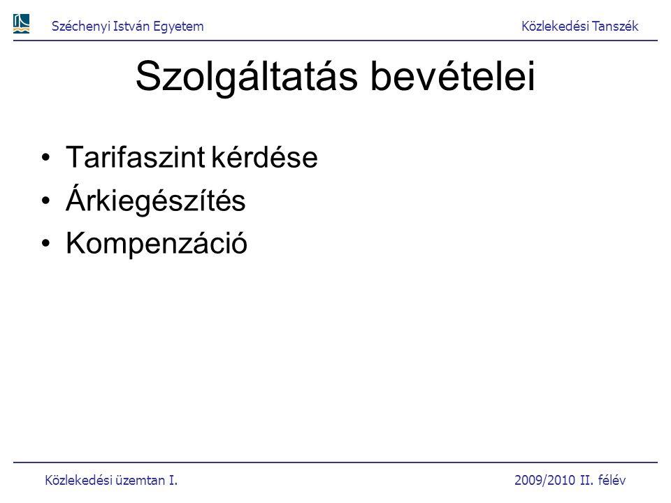 Széchenyi István EgyetemKözlekedési Tanszék Közlekedési üzemtan I. 2009/2010 II. félév Szolgáltatás bevételei Tarifaszint kérdése Árkiegészítés Kompen