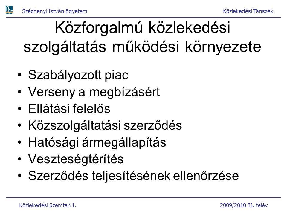 Széchenyi István EgyetemKözlekedési Tanszék Közlekedési üzemtan I. 2009/2010 II. félév Közforgalmú közlekedési szolgáltatás működési környezete Szabál