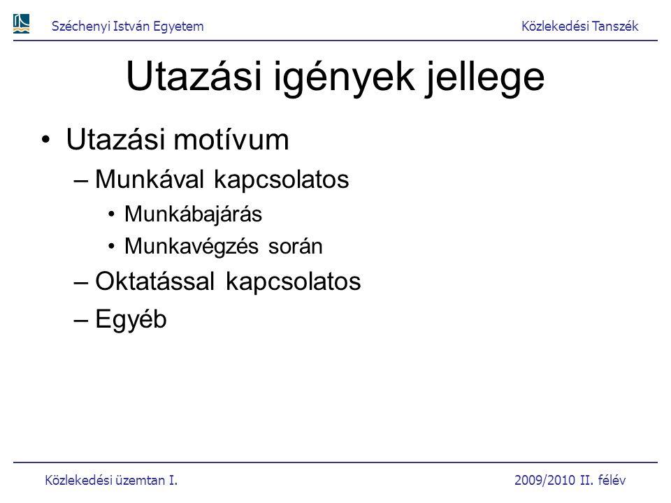 Széchenyi István EgyetemKözlekedési Tanszék Közlekedési üzemtan I. 2009/2010 II. félév Utazási igények jellege Utazási motívum –Munkával kapcsolatos M