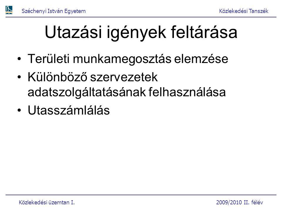 Széchenyi István EgyetemKözlekedési Tanszék Közlekedési üzemtan I. 2009/2010 II. félév Utazási igények feltárása Területi munkamegosztás elemzése Külö