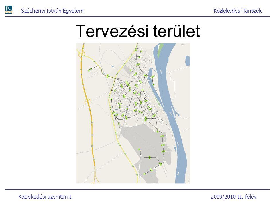 Széchenyi István EgyetemKözlekedési Tanszék Közlekedési üzemtan I. 2009/2010 II. félév Tervezési terület