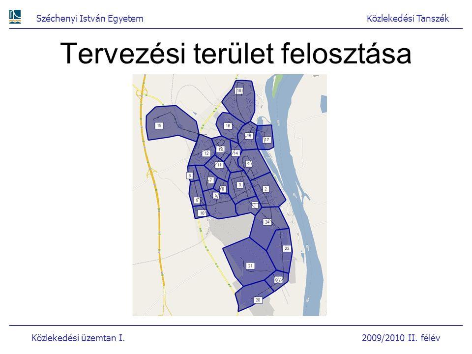 Széchenyi István EgyetemKözlekedési Tanszék Közlekedési üzemtan I. 2009/2010 II. félév Tervezési terület felosztása