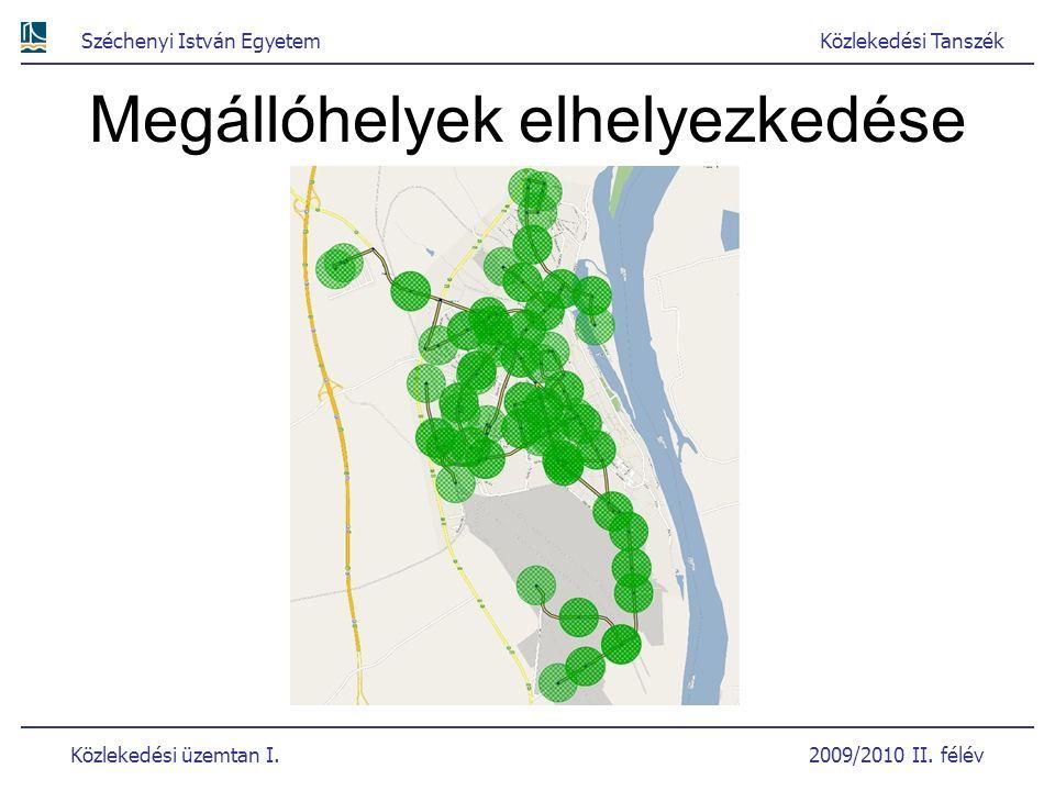 Széchenyi István EgyetemKözlekedési Tanszék Közlekedési üzemtan I. 2009/2010 II. félév Megállóhelyek elhelyezkedése