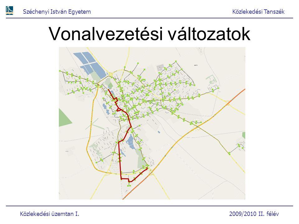 Széchenyi István EgyetemKözlekedési Tanszék Közlekedési üzemtan I. 2009/2010 II. félév Vonalvezetési változatok