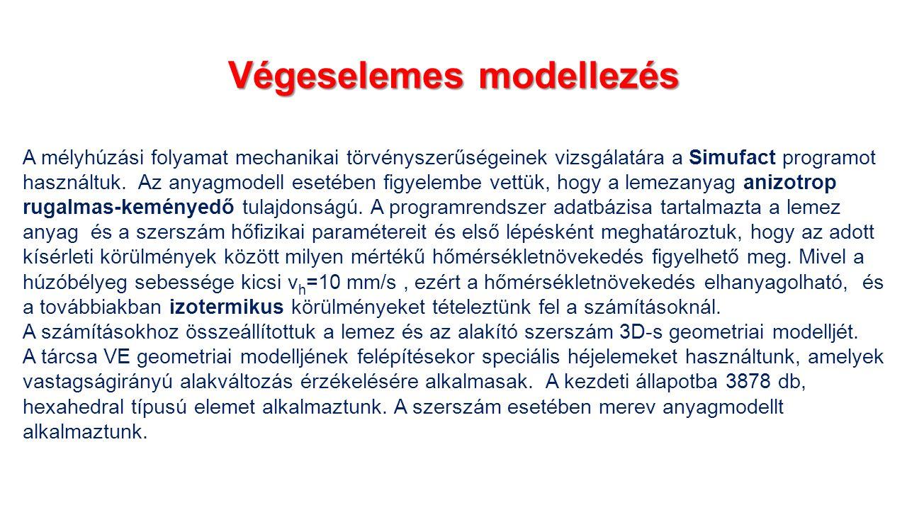 Végeselemes modellezés A mélyhúzási folyamat mechanikai törvényszerűségeinek vizsgálatára a Simufact programot használtuk.