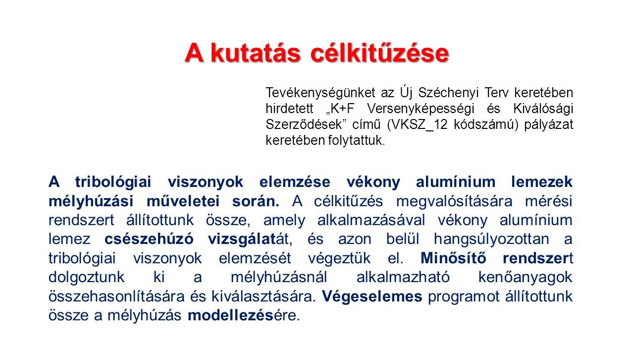 A kutatás célkitűzése A tribológiai viszonyok elemzése vékony alumínium lemezek mélyhúzási műveletei során.