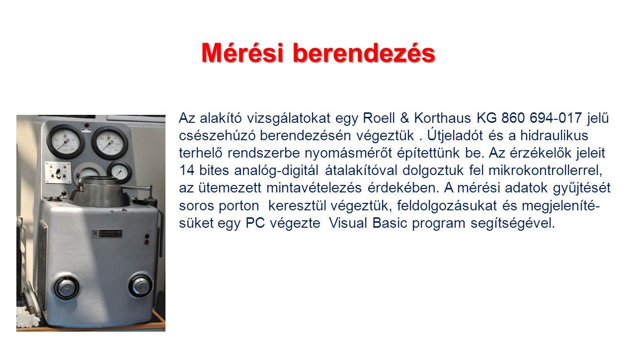 Mérési berendezés Az alakító vizsgálatokat egy Roell & Korthaus KG 860 694-017 jelű csészehúzó berendezésén végeztük.