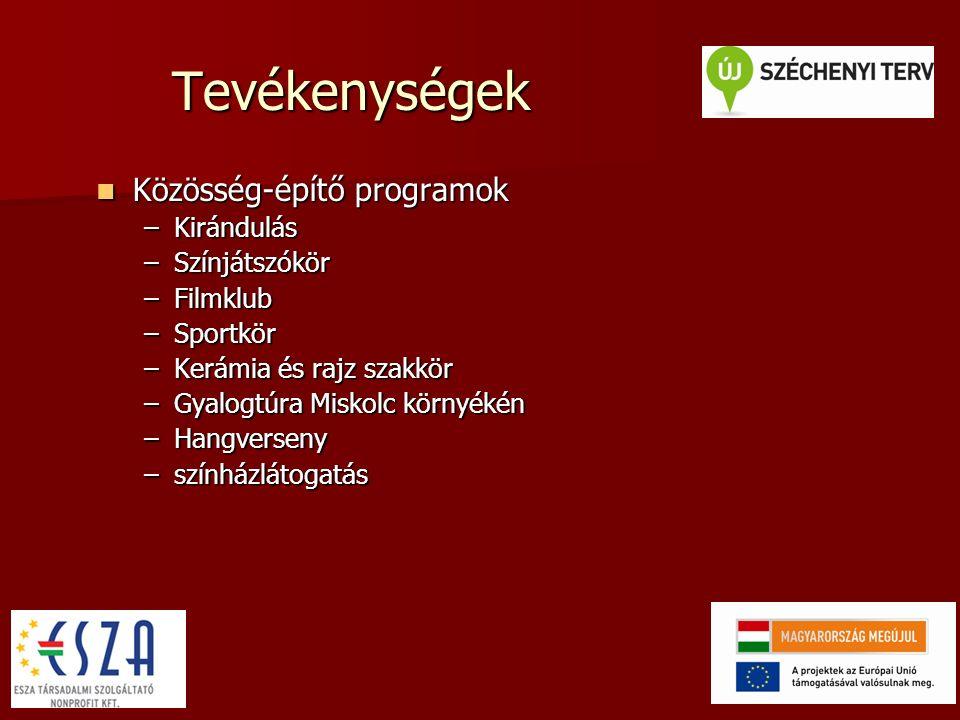 Tevékenységek Hálózati tanulás, együttműködés Hálózati tanulás, együttműködés –Jó gyakorlat vásárlás –Szakmai tapasztalatcsere –Hospitálás – külső, belső
