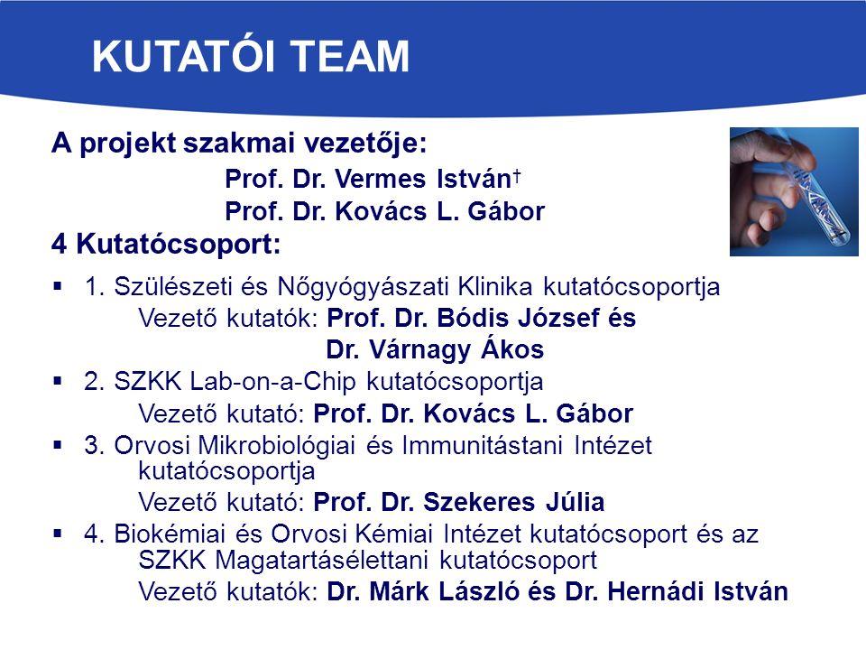 KUTATÓI TEAM A projekt szakmai vezetője: Prof. Dr.