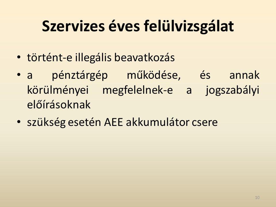 Szervizes éves felülvizsgálat történt-e illegális beavatkozás a pénztárgép működése, és annak körülményei megfelelnek-e a jogszabályi előírásoknak szükség esetén AEE akkumulátor csere 10