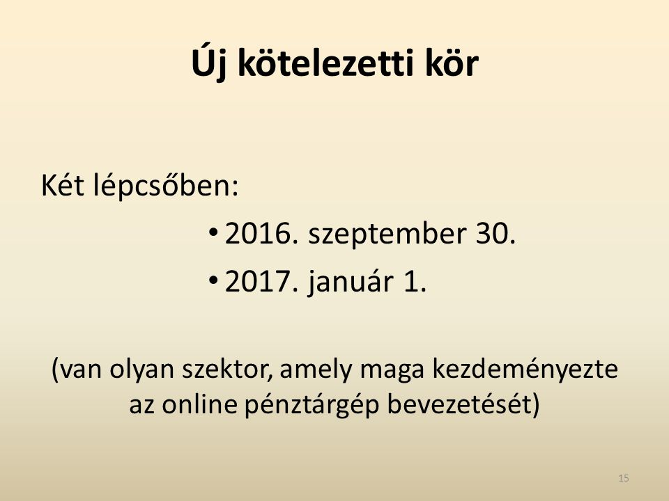 Új kötelezetti kör Két lépcsőben: 2016. szeptember 30. 2017. január 1. (van olyan szektor, amely maga kezdeményezte az online pénztárgép bevezetését)