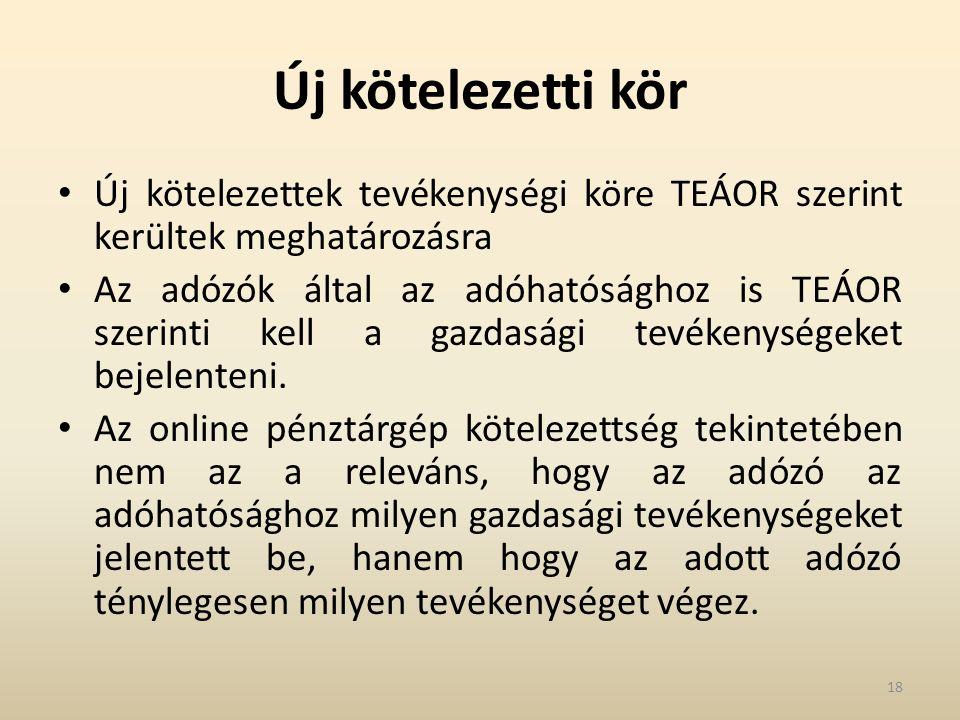 Új kötelezetti kör Új kötelezettek tevékenységi köre TEÁOR szerint kerültek meghatározásra Az adózók által az adóhatósághoz is TEÁOR szerinti kell a gazdasági tevékenységeket bejelenteni.