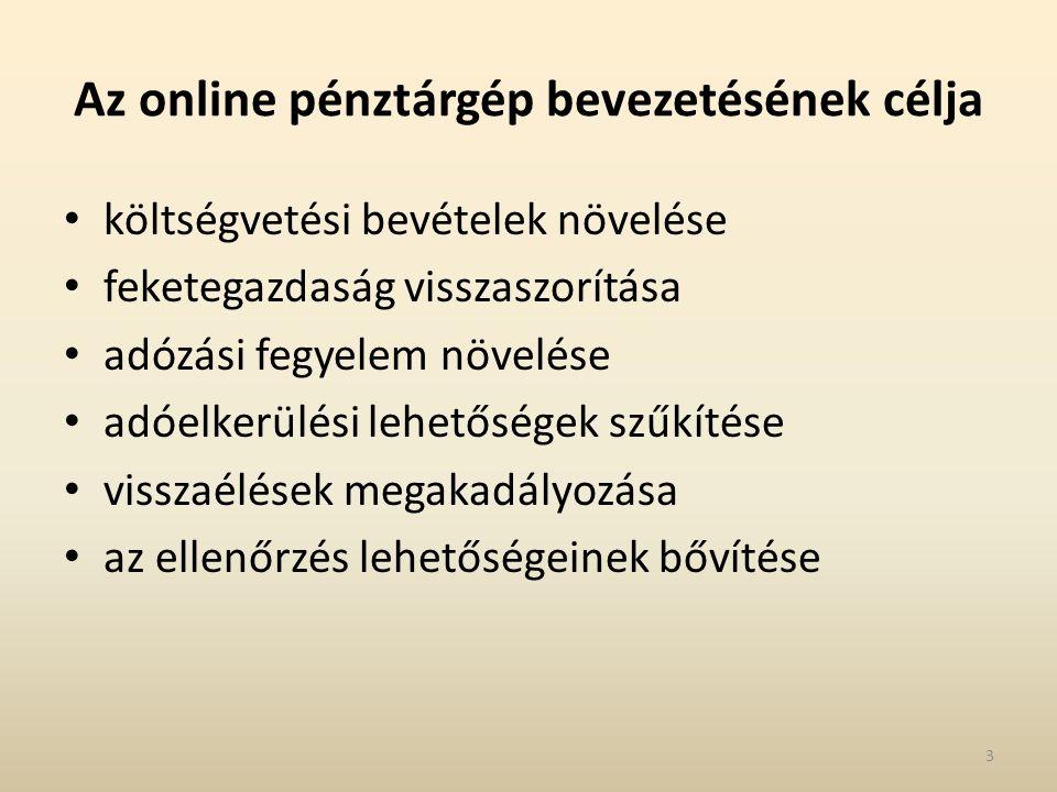 Az online pénztárgép bevezetésének célja költségvetési bevételek növelése feketegazdaság visszaszorítása adózási fegyelem növelése adóelkerülési lehetőségek szűkítése visszaélések megakadályozása az ellenőrzés lehetőségeinek bővítése 3