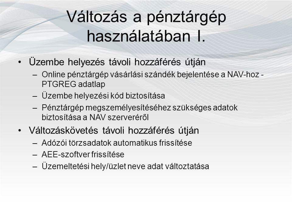 Változás a pénztárgép használatában I. Üzembe helyezés távoli hozzáférés útján –Online pénztárgép vásárlási szándék bejelentése a NAV-hoz - PTGREG ada