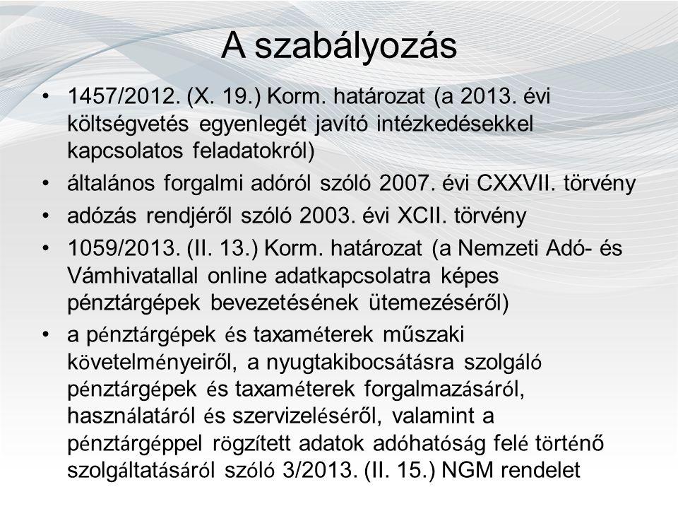 A szabályozás 1457/2012. (X. 19.) Korm. határozat (a 2013. évi költségvetés egyenlegét javító intézkedésekkel kapcsolatos feladatokról) általános forg
