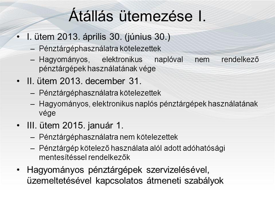 Átállás ütemezése I. I. ütem 2013. április 30. (június 30.) –Pénztárgéphasználatra kötelezettek –Hagyományos, elektronikus naplóval nem rendelkező pén