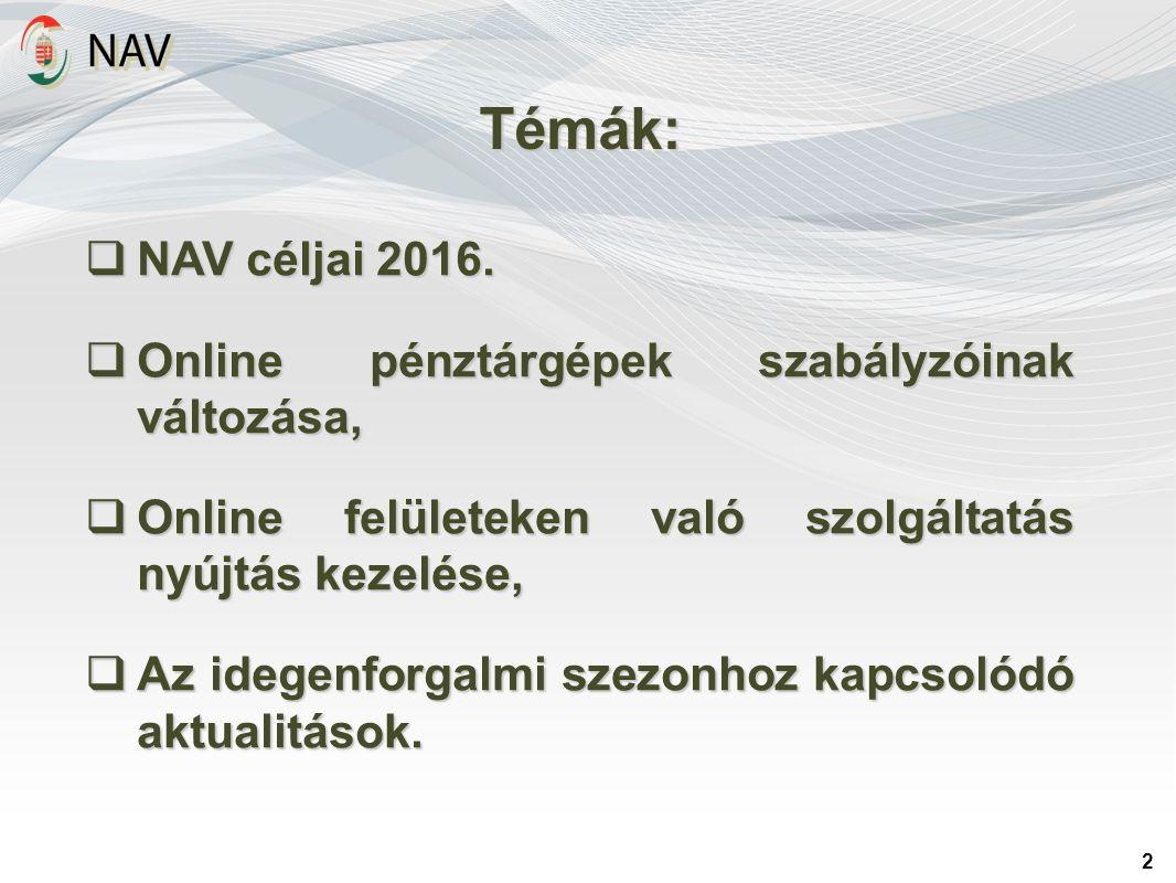 Témák: 2  NAV céljai 2016.  Online pénztárgépek szabályzóinak változása,  Online felületeken való szolgáltatás nyújtás kezelése,  Az idegenforgalm