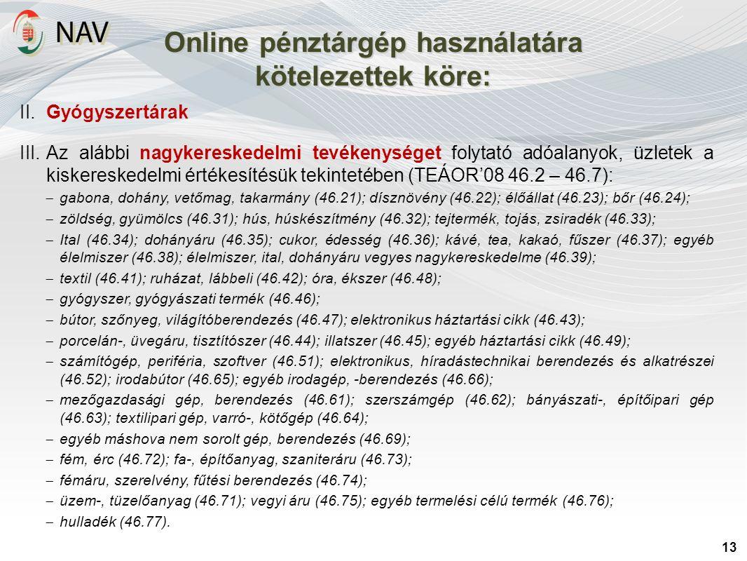 Online pénztárgép használatára kötelezettek köre: 13 II. Gyógyszertárak III.Az alábbi nagykereskedelmi tevékenységet folytató adóalanyok, üzletek a ki