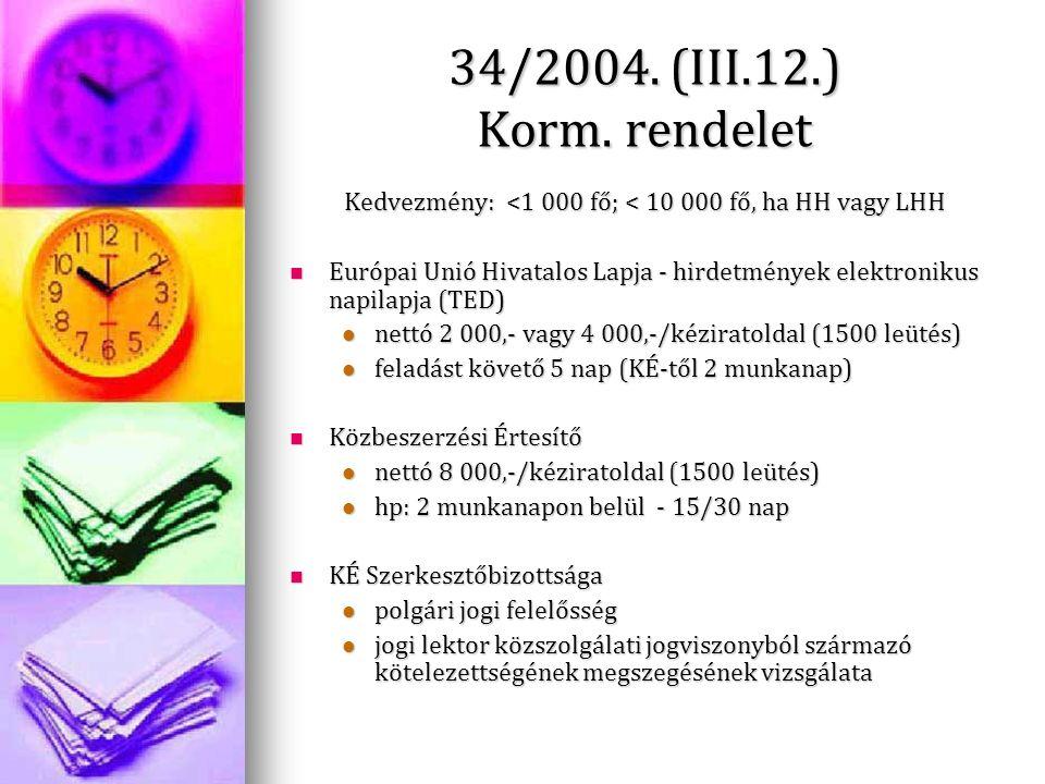 34/2004. (III.12.) Korm. rendelet Kedvezmény: <1 000 fő; < 10 000 fő, ha HH vagy LHH Európai Unió Hivatalos Lapja - hirdetmények elektronikus napilapj