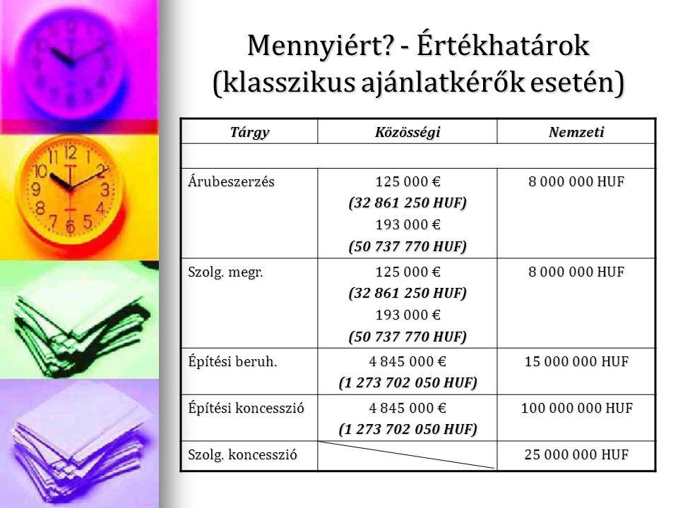 Mennyiért? - Értékhatárok (klasszikus ajánlatkérők esetén) TárgyKözösségiNemzeti Árubeszerzés 125 000 € (32 861 250 HUF) 193 000 € (50 737 770 HUF) 8