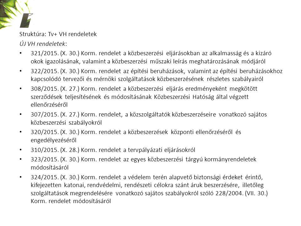 Struktúra: Tv+ VH rendeletek ÚJ VH rendeletek: 321/2015. (X. 30.) Korm. rendelet a közbeszerzési eljárásokban az alkalmasság és a kizáró okok igazolás
