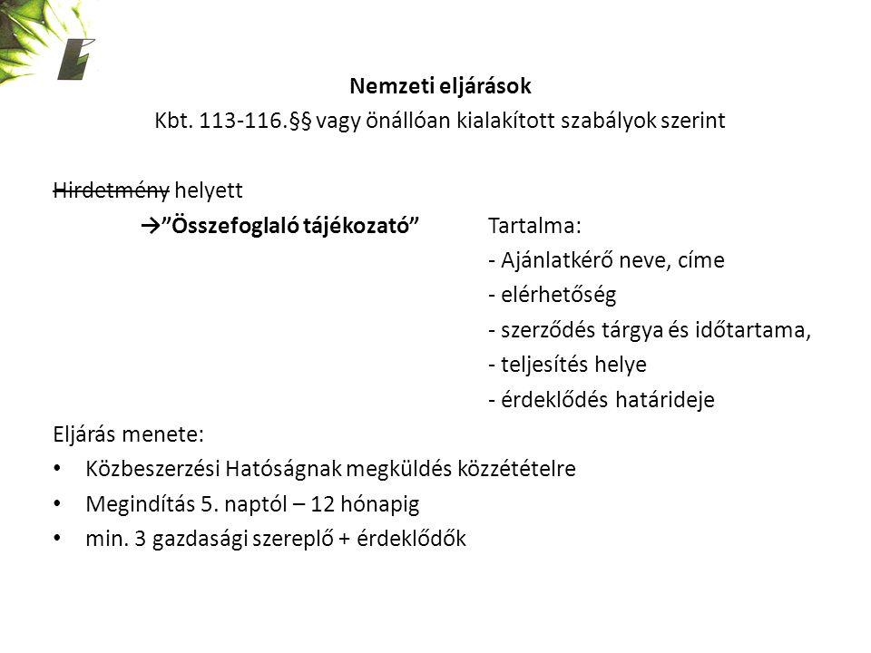 Nemzeti eljárások Kbt.