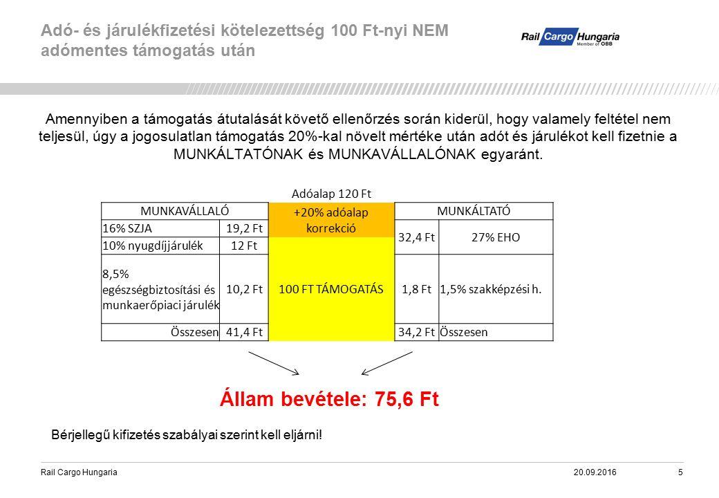 Rail Cargo Hungaria Adó- és járulékfizetési kötelezettség 100 Ft-nyi NEM adómentes támogatás után 20.09.20165 Amennyiben a támogatás átutalását követő ellenőrzés során kiderül, hogy valamely feltétel nem teljesül, úgy a jogosulatlan támogatás 20%-kal növelt mértéke után adót és járulékot kell fizetnie a MUNKÁLTATÓNAK és MUNKAVÁLLALÓNAK egyaránt.