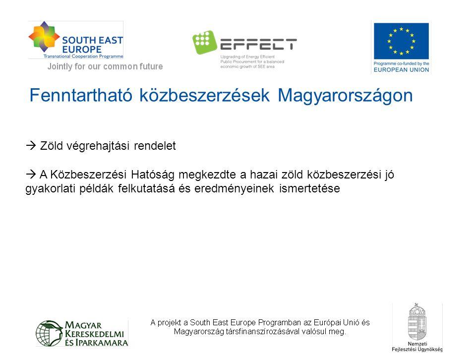 Fenntartható közbeszerzések Magyarországon  Zöld végrehajtási rendelet  A Közbeszerzési Hatóság megkezdte a hazai zöld közbeszerzési jó gyakorlati példák felkutatásá és eredményeinek ismertetése