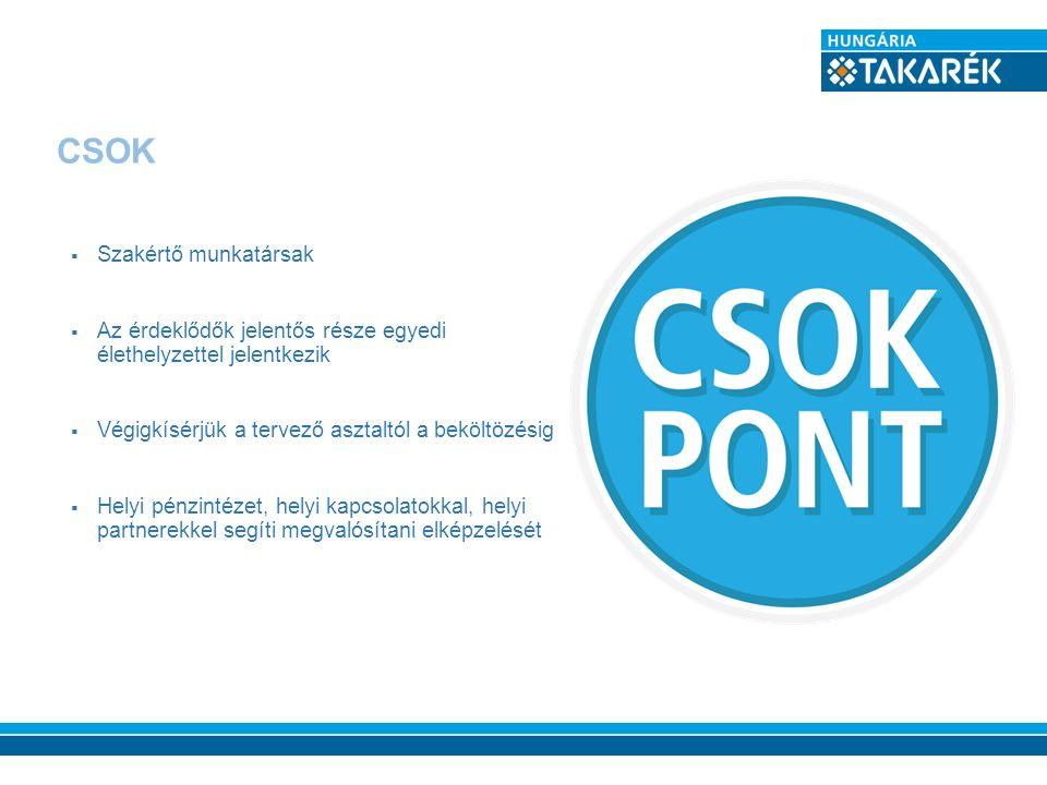 CSOK  Szakértő munkatársak  Az érdeklődők jelentős része egyedi élethelyzettel jelentkezik  Végigkísérjük a tervező asztaltól a beköltözésig  Hely