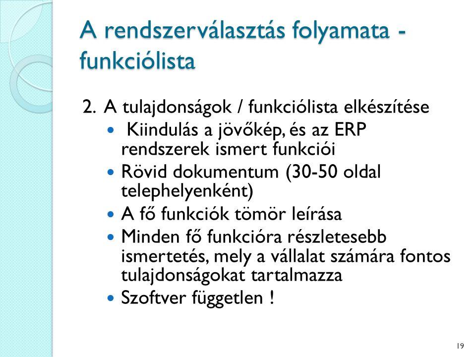 A rendszerválasztás folyamata - funkciólista 2.
