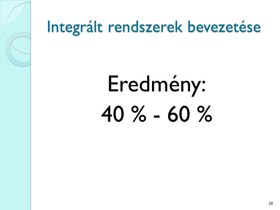 Integrált rendszerek bevezetése Eredmény: 40 % - 60 % 38