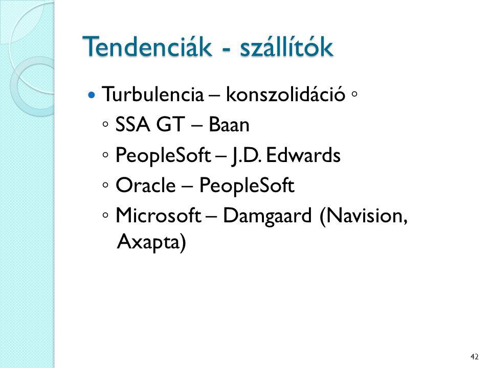 Tendenciák - szállítók Turbulencia – konszolidáció ◦ ◦ SSA GT – Baan ◦ PeopleSoft – J.D.