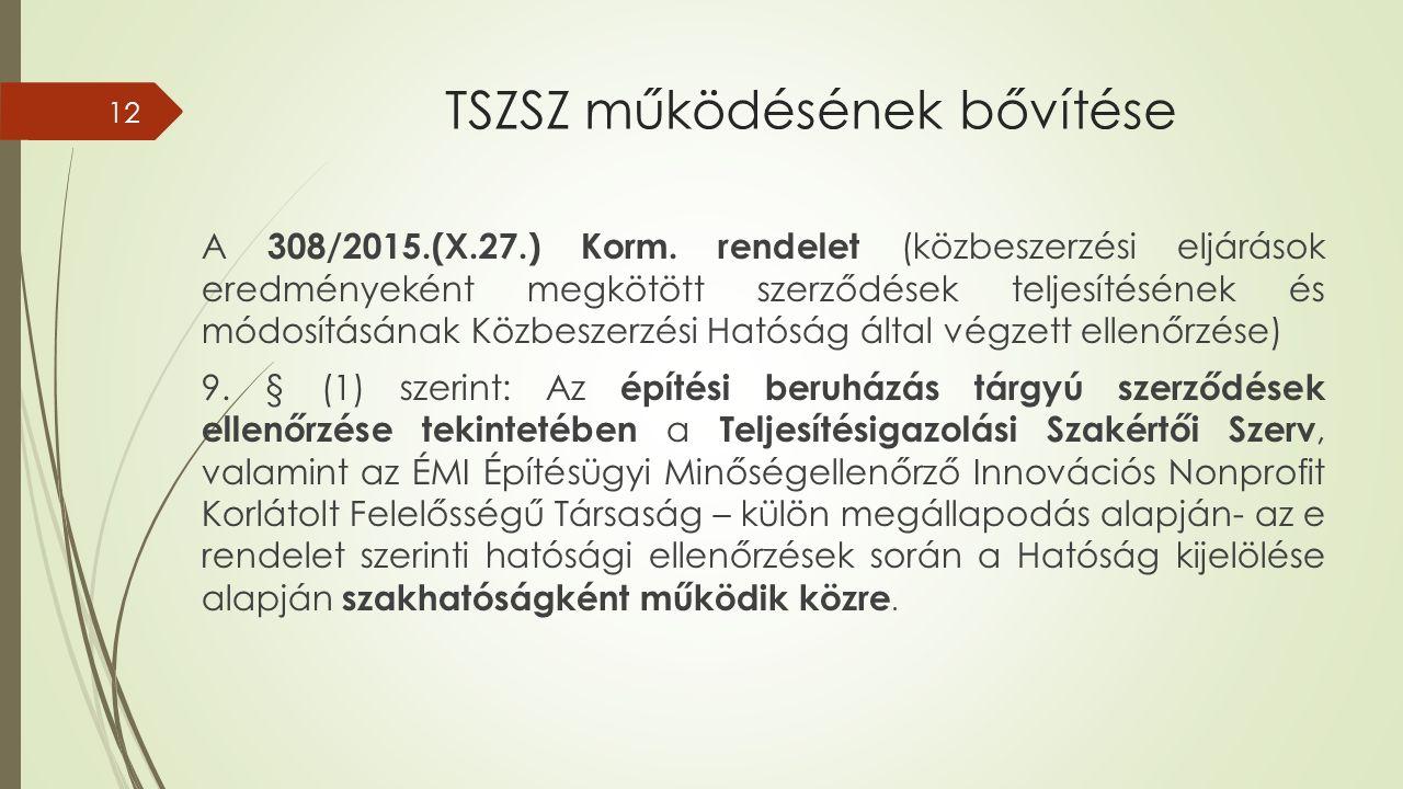 TSZSZ működésének bővítése A 308/2015.(X.27.) Korm.