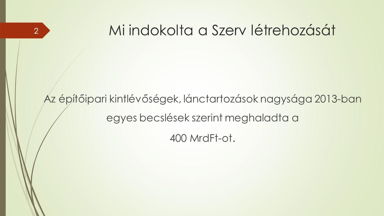 Mi indokolta a Szerv létrehozását Az építőipari kintlévőségek, lánctartozások nagysága 2013-ban egyes becslések szerint meghaladta a 400 MrdFt-ot.