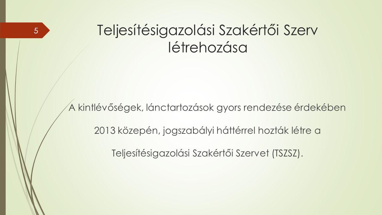 Teljesítésigazolási Szakértői Szerv létrehozása A kintlévőségek, lánctartozások gyors rendezése érdekében 2013 közepén, jogszabályi háttérrel hozták létre a Teljesítésigazolási Szakértői Szervet (TSZSZ).