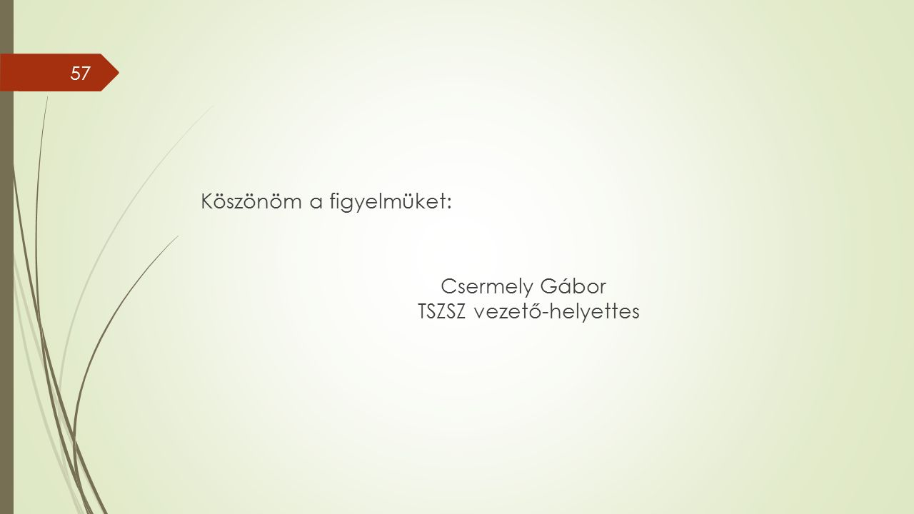 Köszönöm a figyelmüket: Csermely Gábor TSZSZ vezető-helyettes 57