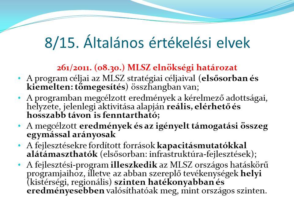 8/15. Általános értékelési elvek 261/2011. (08.30.) MLSZ elnökségi határozat A program céljai az MLSZ stratégiai céljaival (elsősorban és kiemelten: t